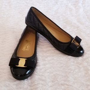 Ferragamo Rufina Leather Quilted Bow Ballet Flats